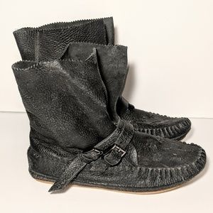 Free People Luv Stoned Leather Moccasin Boots